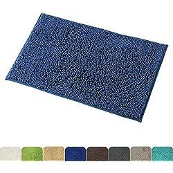 Mayshine Alfombra antideslizante para Baño Chenille Tepete lavable en la Lavadora Alfombrilla antideslizante Microfibras suaves Agua absorbente (60x100 cm, Azul Oscuro)