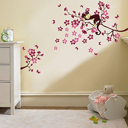 Walplus - adesivi murali per cameretta/nursery, albero con scimmietta, 50 x 70 cm
