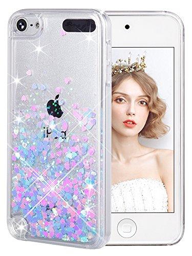 Handyhülle iPod Touch 6 Glitzer Hülle, iPod Touch 5 Hülle, wlooo iPod Touch 5/6 Glitzer Süße Flüssig Bewegende Treibsand Handyhülle Fließend Flüssigkeit Funkeln Glitter Quicksand Handyhülle Clear Transparent Silikon TPU - Bling 3d-cases Für 5 Den Ipod