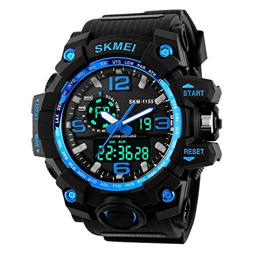 YFWOOD Männer Sport Uhr wasserdicht Outdoor multifunktionale große militärische analoge digitale Armbanduhren für Männer mit El Light Alarm ABS + PU-Blatt Tasche PU-Armband (blau)