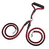 F.lashes Hundeleine 2-Wege-Koppler Training Leine LeineTraktion Braid Seil Outdoor Walking Leine für Haustier, Lange 130cm, Durchmesser 12cm