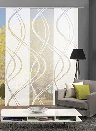 Home Fashion 88662 | 3er-Set Schiebegardinen TIBERIO | Scherli blickdicht & transparent | wollweiß | je 245x60 cm
