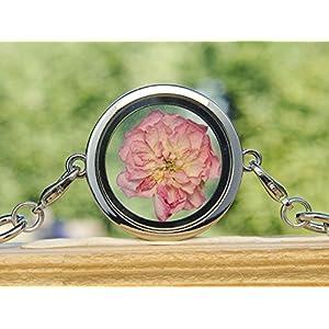 Rosen Armband echte Blüten Medaillon rosa Rosenblüte