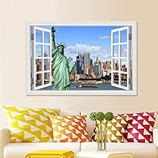 Rftvgb 3D Wall Sticker window Removable window PVC Stickers Home Decor American Statue OfArchitectural Wallpaper Wall Art Murals Decal For Kitchen Room