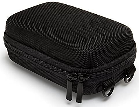 Bundlestar PURE BLACK étui rigide pour appareil photo taille L (couleur noir) (avec bandoulière et boucle de ceinture) Pour Sony Cybershot HX50 HX60 HX80 HX90 - Nikon CoolPix W100 A900 S9900 - Panasonic Lumix DMC TZ70 - Canon PowerShot SX710