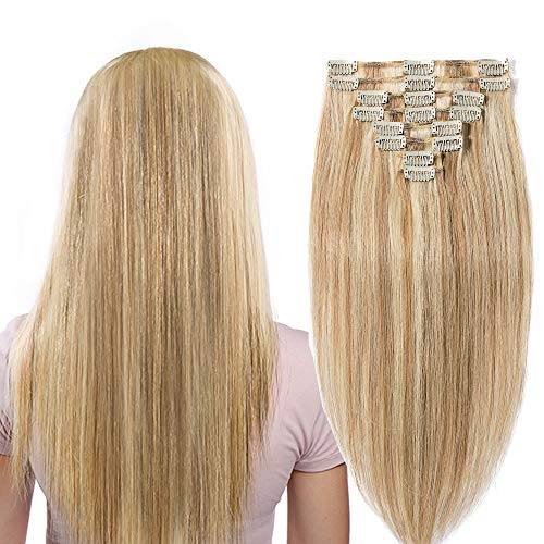 Extension capelli veri clip balayage biondo mix castano - 100% remy human hair naturali lisci lunghi 50cm 20