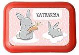wolga-kreativ Brotdose Lunchbox mit Name Hase auf der Wolcke und Wunschname mit Trennsteg viele Motive