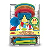 Melissa & Doug Let's Play House! Wash & Dry Dish Set (4 Place Settings, Use with Kitchen Set or Stand-Alone, 24 Pieces, 10.16 cm H x 29.21 cm W x 21.59 cm L)