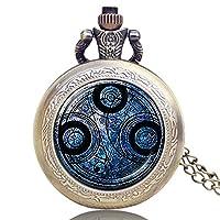 DR WHO Blue Gallifrey Timelord Seal Bronze Effect Retro/Vintage Case Full Hunter Mens/Boys Quartz Pocket Watch Necklace - On 32