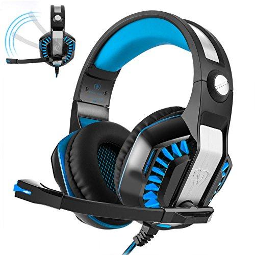 Gaming Headset TB Wired Stereo Subwoofer Breathing LED Licht Bass Over-Ear Professionelle Kopfhörer mit Mikrofon Flexion Lärm Isolierung für Laptop Computer, Handy, PS4 (blau)
