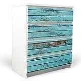 banjado yourdea Möbelfolie für IKEA Malm Kommode mit 4 Schubladen|Klebefolie 4-teilig ca. 80x100cm|Möbelsticker Selbstklebend mit Motiv Blaue Holzlatten