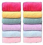 #10: Milap Multicolor Emboss Design Microfiber Face Towels Set of 12