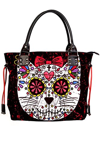 Banned Womens Black Red Rockabilly Tattoo Sugar Candy Cat Skull...