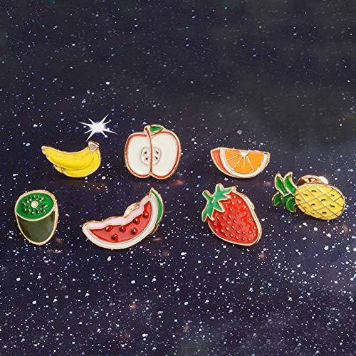JTXZD Brosche 7 Teile/Satz Sommer Urlaub Wassermelone Kiwi Erdbeere orange Banane Apple Ananas Obst brosche Abzeichen Vintage Obst - Sommer Bronze Kit