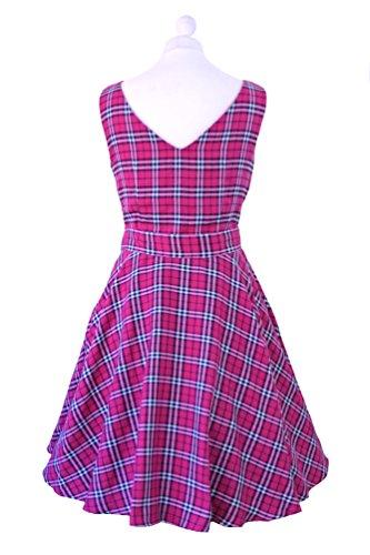 Damen Kleid, Vintage-/ Retro-/ Rockabilly-/ Punk-Stil, Schottenkaro, Swing-/ Skater-/ Party-Kleid mit Tellerrock, Größe 32-52 Rot - Pink