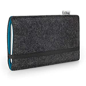 Stilbag maßgeschneiderte Handyhülle FINN - Anfertigung für Smartphones mit Case möglich | Farbe: anthrazit-azur | Smartphone-Tasche aus Filz | Handy Schutzhülle | Handytasche Made in Germany