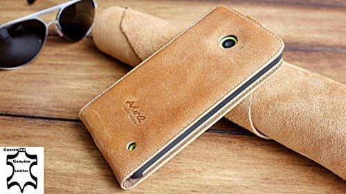 Urcover®Akira Hand Made [Echt Leder] Handyhülle kompatibel mit Microsoft Lumia 532 Flip-Cover Handgemacht Case Schutzhülle Etui Flip Wallet Hell Braun