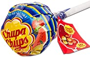 Chupa Chups Lecca Lecca Mega Chups, Lollipop Gigante Contenente 10 Lollipop Gusti Assortiti Fragola, Arancia,