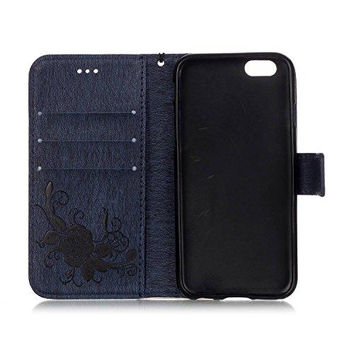 Custodia iPhone 6S Plus Elegante,iPhone 6 Plus Custodia in pelle,Felfy iPhone 6 Plus 6S Plus Retro Vintage Rigida Embossing Dipinto Carina Orso Modello Portafoglio Flip Magnetico Floding Premium PU pe Blu marino-1
