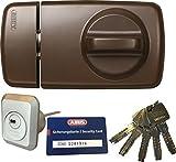 ABUS Tür-Zusatzschloss 7010 B braun, EC660, Kastenschloss mit Drehknauf, mit 5 Schlüssel und Sicherungskarte, Ausführung EK (Metallausführung)