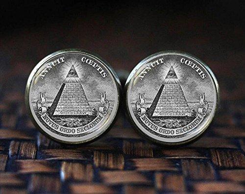 Annuit Coeptis Manschettenknöpfe, Freimaurer alle Seeing Eye Pyramide, Freimaurer Manschettenknöpfe, Eye Of Providence Manschettenknöpfe, Heilige Geometrie Manschettenknöpfe