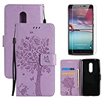 for ZTE Axon 7 Flip Case and Screen Protector ,OYIME [Purple Cute Cat and Butterfly Tree] Design Leather Kickstand Magnetic Holster with Card Holder Full Body Protective Wallet Cover