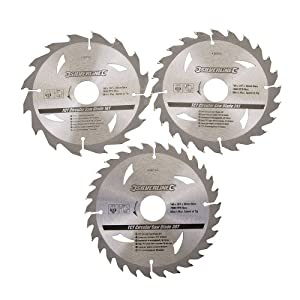 Silverline 436755 TCT Circular Saw Blades 16, 24, 30T 160 x 30-20, 16, 10 mm Rings - Pack of 3