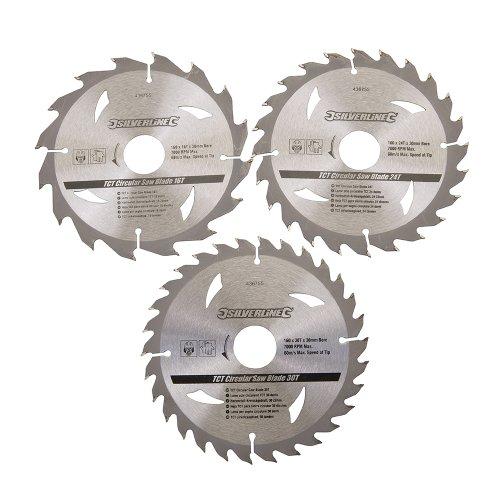 Silverline 436755 - Discos de TCT para sierra circular 16, 24, 30 dientes, 3 pzas (160 x 30 - anillo de 20, 16 y 10 mm)