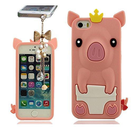 Hülle für iPhone 5 5S 5C 5G mit Hübsch hängende, Weiche Silikon Gel Material, Tier Type 3D Niedlich Schweinchen Serie Phone Case Skin Cover Handy Tasche schutzhülle für iPhone 5 5S 5C 5G Pink