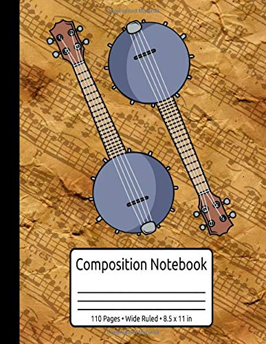 Vintage Banjo Gifts Women Men Bluegrass Country Music Composition Notebook 110 Pages Wide Ruled 8.5 x 11 in: Banjo Journal For Bluegrass Music