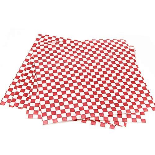 YOUTHLIKEWATER 24 Stück Einweg-Sandwich-Verpackungspapier Hamburger Red & amp;weißes Kariertes Wachspapier Check Fast Food Basket Liner 12''x12 '' Food Basket Liner