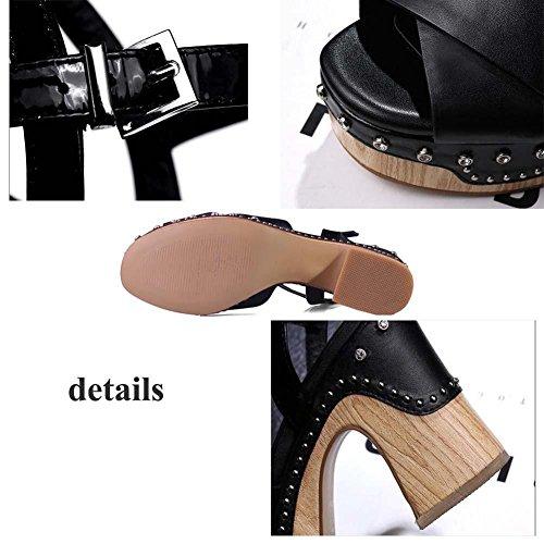 Pompa 10 centimetri Tacchi alti vera pelle Cinturino alla caviglia sandalo sandali Scarpe casual Scarpe da sera Donne Semplice Aprire il piede Piattaforma Spessa Rivetti di metallo Scarpette Dimension black