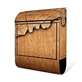 BANJADO Design Briefkasten schwarz | 38x47x13cm groß mit Zeitungsfach | Stahl pulverbeschichtet | Wandbriefkasten mit Motiv Holz ohne Standfuß