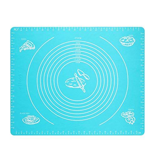 QiyuanLS Backmatte silikon, Nonstick Nonslip große Fondant Gebäck Roll Silikon Backmatte blau