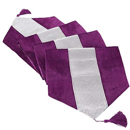 Deggodech La Simple de Corredor Mesa Banquete Diamante Upscale Home Decor Classic Coffee Table Cloth (Púrpura, 32x185cm)