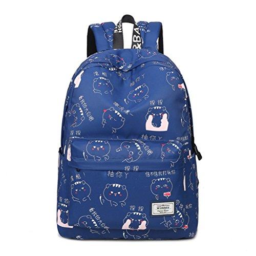 Winnerbag Cute Cartoon Muster Schulter Rucksäcke Wasserdicht weiblichen Trendy Preppy Stil Drucken Student Girls College Rucksack Taschen Blau 14 Zoll (Dakine Canvas Schulter Tasche)