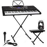 Schubert Etude 225 USB Teclado con auriculares de estudio, soporte, micrófono de mano y banco de altura regulable • Piano de 61 teclas luminosas • Reproductor MIDI USB • 255 registros, 255 ritmos, 50 canciones demo • Inteligente función de aprendizaje