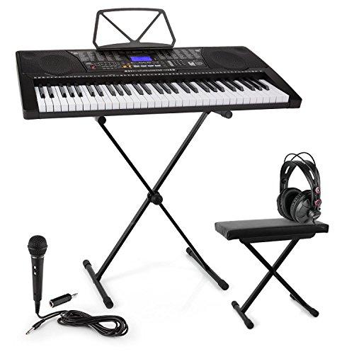 Schubert Etude 225 • USB Lern-Keyboard Set • Kopfhörer + Keyboard-Stand + Sitzbank + Mikrofon • 61 Leuchttasten • integrierte Stereolautsprecher • Aufnahme- & Playback-Funktion • 3 Lernmodi • lichtgesteuerten Tasten • 50 Demo-Songs • 32 Speicherplätze
