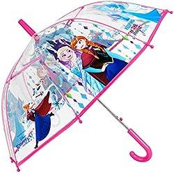 Parapluie Disney Frozen Fille - Parapluie Transparent Cloche Enfant La Reine des Neiges - Impression Anna et Elsa - Solide, Antivent et Long - Ouverture Automatique- 5/7 Ans - Diamètre 74 cm -Perletti