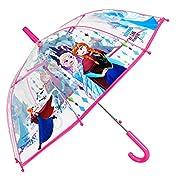 Ombrello Frozen Bambino - Con stampa Anna e Elsa - Ombrello Disney lungo Cupola Trasparente in PVC Antivento - Apertura automatica - 5/9 Anni - Diametro 74 cm- Perletti