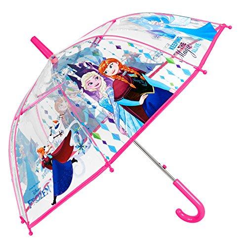 Disney Frozen Kinder Schirm für Mädchen - Stockschirm mit Elsa & Anna - Robuster und Windfester Regenschirm mit Transparenter Kuppel - 5 bis 8 Jahre - Durchmesser 74 cm - Perletti
