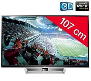 """LG 42PM4700 TV Plasma 42"""" (107 cm) 3D Ready Smart TV HD TV 1080p 600 Hz 3 HDMI 2 USB Noir/Argent"""