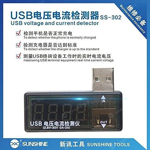 USB Détecteur de tension et de courant numérique Pour téléphones portables - Détecteur de tension Sunshine SS-302