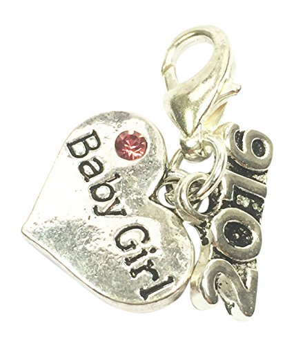 Libbys Market Place Baby Girl 2016 Clip on Charm with Pink Gift Bag Handmade by Libbys Market Place