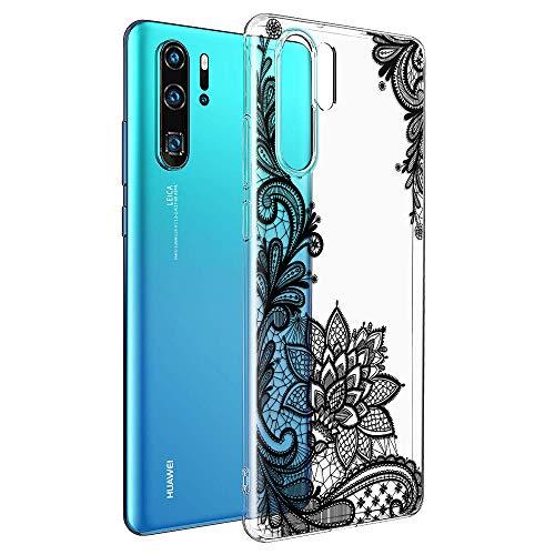 ZhuoFan Cover Huawei P30 PRO, Custodia Cover Silicone Trasparente con Disegni Ultra Slim TPU Morbido Antiurto 3D Cartoon Bumper Case Protettiva per Huawei P30 PRO (Fiore Nero)