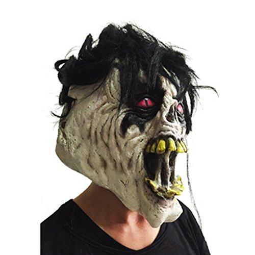 ZSMPY Maske Halloween Ball Maske Langes Haar Grimasse Rote Augen Unheimlich Maske Zeigt Headshow Leistung Dress Up Requisiten