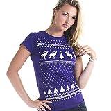Leuchtet im Dunkeln Weihnachten Rentier T-Shirt - Frauen - Violett