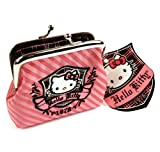 Hello Kitty rayées Super Deluxe Porte-Monnaie - Rose - Rose, Medium