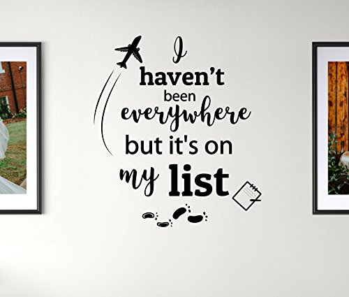 Earthabitats Vinyl Aufkleber Zitat für Wand-Ich War Noch Nicht überall aber es ist auf Meiner Liste-Inspirierende Travel Sagen Home Decor Mauer Kunst (Vinyl-schablone Buchstaben)
