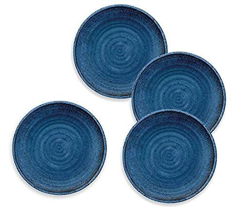 French Couleur Bleue–Artisan Assiette en mélamine pique-nique/barbecue/buffet extérieur Assiette plate–Lot de 4–26.5cm